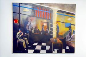 Nattliv. Klubben är sänkt i ett skönt dis. Upplevs i mycket sevärd utställning på Galleri Majoo.