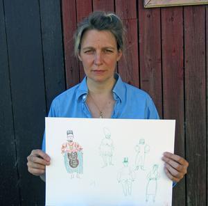 Att blanda traditionellt könsbundna dräktkoder med internationella influenser är ett genomgående tema för Ida Björs i den kommande utställningen. Foto: Moa Lindstedt