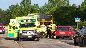 Efter olyckan där en buss kolliderade med en MC-förare.