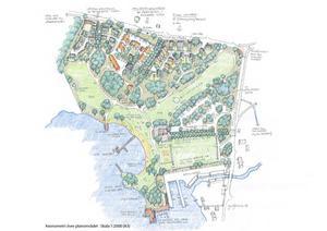 Det senaste kända förslaget för Hökmossbadet och området ovanför – stranden utökas och drygt 50 bostäder byggs. Om ett par år tror Bob Wållberg att det kan börja hända något konkret på platsen. Illustration: Kjell Forshed