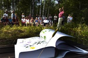 Ett fyrtiotal personer slöt upp för att vara med vid invigningen av naturreservatet vid Stämshöjen. Torbjörn Rynéus från Länsstyrelsen Dalarna berättade att stormhatten togs hit från Centraleuropa som trädgårdsväxt. Foto:Mikael Forslund