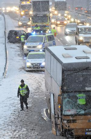 Bussen som resenärerna från Askersund, Hallsberg och Kumla åkte i.