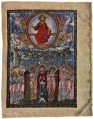 Kristi Himmelsfärd, ur Festraden i 1300-talsikonostasen i Sofiakatedralen, Novgorod. 208 x 72 centimeter.