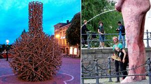 Konstverket till vänster uppskattas av Stefan Nilsson, men inte det till höger.