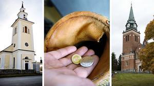 Invånarna i Ytterlännäs och Örnsköldsviks församlingar skänker minst pengar.