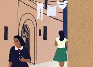 Elena och Lila blir vuxna i del två och tre av Neapelkvartetten. Illustration: Agnes Florin/Norstedts
