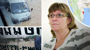 Lena Fallgren från Västerås satt fast  mitt i översvämningarna i Thailand. Nu är hon i säkerhet i Huay Yang.