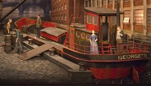 Pråmarbetare. Metropolitans scenbild till Il tabarro, en av de tre enaktarna som avslutar vårens samarbete mellan Smedjebacken och New York.