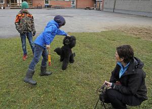 På rasterna är det full fart ute på skolgården när barnen leker med Aramis. Och som ni ser gillar han det också.