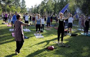 Karina Freij driver Yogaskolan. Under sommaren har skolan ordnat gratis kurser, som har lockat stort antal deltagare – som mest 170 personer.