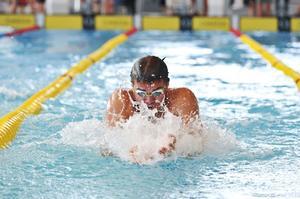 Johannes Skagius, som simmade i VM-finalen tidigare, gästade Härnösim.
