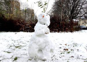 Snögubben vakar vid Timmermansgatan.