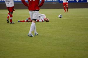 En Anundsjöspelare blev skadad i andra halvlek, men kom snabbt upp på fötter.