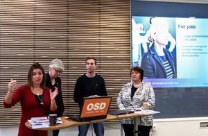 Anna-Caren Sätherberg (S), Ann-Marie Johansson (S), Kalle Olsson (S) och AnnSofie Andersson (S) presenterade budgeten som regeringen och Västerpartiet kommit överens om.