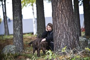 Jenny Nording hade åkt från Norrtälje för att delta i kursen med flatcoated retrievern Mojje.