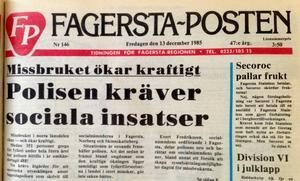 Slog larm. FP slog på stort om fylleriproblemen för 30 år sedan.