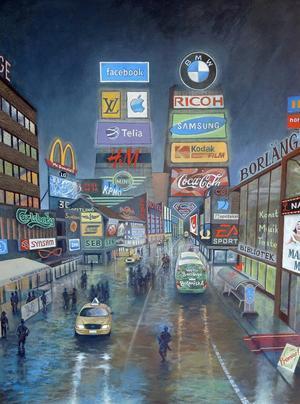 Anders Björnhagers målning ska printas ut. Och bli ett konstverk på sex gånger åtta meter.