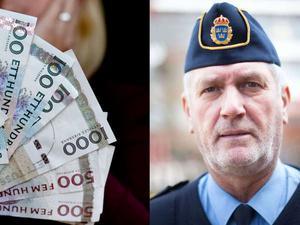 Polisens presstalesman Mikael Hedström för att de kan få besök av orärliga personer som uppger sig komma från hemstjänsten, en städfirma eller liknande.