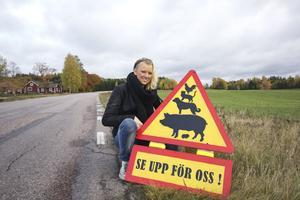 Sandra Berger, ägare till skylten som stals, har tillverkat den för att varna för djur vid hennes gård.