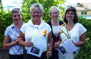 Friskvård. Marianne Karlsson Eriksson, friskvårdsansvarig, Maria Henriksson, som vann två dagar ledigt, personalchefen Kaisa Rainersson och Eva Roos som vann förstapriset, tre dagar ledigt.