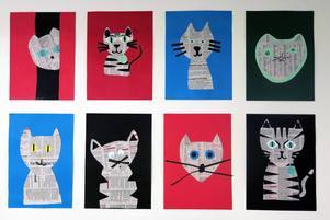 Tidningspappersinspirerade katter av elever på Gefle Montessoriskola.