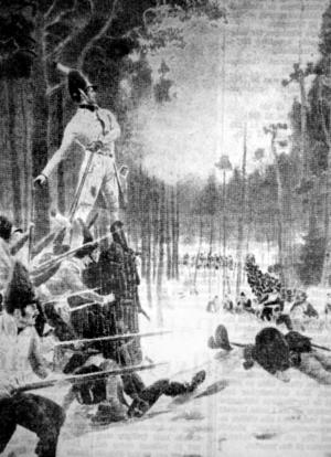 En målnings som visar det för svenskt vidkommande så ödesdigra Slaget vid Trangen år 1808. Den norske officeren på stubben är sannolikt den