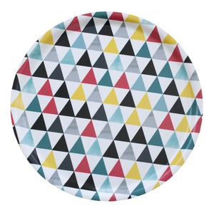 """Brickan """"Rut"""" med trianglar i pigga färger blir ett tufft blickfång. Från Wallmarks Formstudio."""