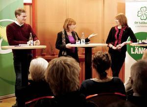 Miljöpartiets språkrör Gustav Fridolin och Centerpartiets partiledare Annie Lööf intervjuades inför debatten av Mittnytts och Jämtlandsnytts Lena Samuelson. Fotografen Ylva Holmgren filmade.