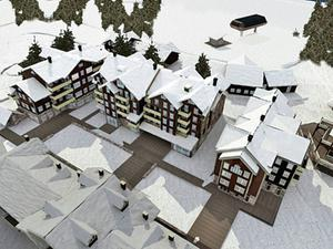 I vinter byggs de tre första av vad som ska bli totalt åtta hus som kommer att bilda Vemdalsskalets nya centrum. Det blir boende, affärslokaler, café och kontor.