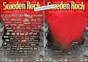 Mansdominans. Sweden Rocks festivalaffisch före och efter att samtliga manliga akter tagits bort. Bildbearbetning: Jämställd festival