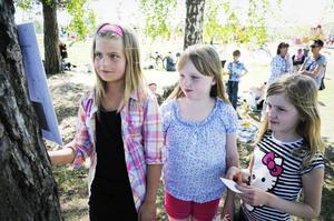Isa Larsson, Ella Ling och Clara Olsson, alla 8 år och från Kilafors, kunde åtminstone en tipspromenadfråga. är helt säkra på att pigan i Lönneberga hette Lina.