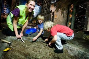 I år valde Jamtli att lägga lite mer krut på inomhusaktiviteterna. Under söndagen passade bröderna Viggo och Ivar på att testa arkeologisk utgrävning där de får hjälp av Amanda Jönsson, arkeolog på Jamtli.