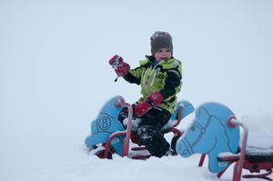 mitt barnbarn adrian älskar snö och de har han fått mycket av 2011