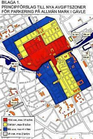 Priszoner. Så här ser förslaget om nya högsta parkeringsavgifter ut på gatumark i centrala Gävle.