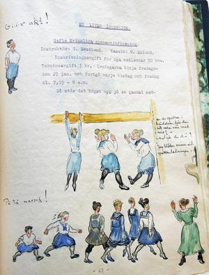 En illustration från Gefle kvinnliga gymnastikförenings bok från 50-årsjubileum 1941. Tekla Swedlund är avbildad med eleverna, ropandes: