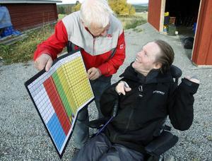 Lennart Hjelm har en stor tavla med tecken som gör att pappa Bosse kan kommunicera med honom.