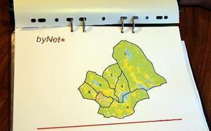 Avesta kommun var först indelat i flera mindre områden. Nu tycks det blir fråga om fyra föreningar, där områdena 2 och 3 bildar en förening och 5 och 6 en föreningen. I centrum finns redan ett stadsnät. Karta: Bynet