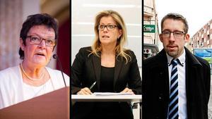 Inger Källgren Sawela (M), Åsa Wiklund Lång (S), och Måns Montell (M) mejlade varandra om skandalerna inom SKFAB. Men Arbetarbladet får inte se mejlen.