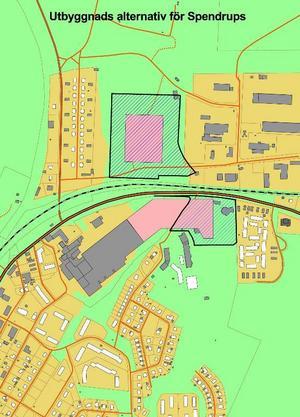 Utbyggda Spendrups. De rosafärgade partierna visar var Spendrups kan byggas ut. Antingen sker det i folkparken eller på Skakelbacken, mellan Källfallet och industrihusen i området.