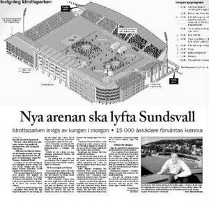 Ur ST den 8 juni 2002. Inför invigningen av nya Idrottsparken var förhoppningarna stora.