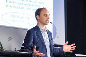 Björn Rentzhog, vd och koncernchef för Persson Invest betonade att det naturliga för näringslivet i Jämtlands län är att söka sig söderut och västerut, inte norrut.