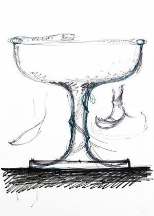 Skiss till Ormpokalen 1976, Gunnar Cyréns första silverutställning.