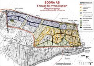 Här ser vi en karta från den nu gällande översiktsplanen över södra Ås. I de gula områdena har det redan byggts en del bostäder, och i de blå kan det i framtiden bli handelsområden.