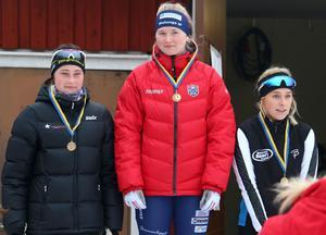 Prisutdelning för juniordamerna. Vann gjorde Amelia Furunäs från Malungs IF. Tvåa blev hemmaåkaren Daniela Bjärmark och Ida Wånggren från Motala AIF SK blev trea.