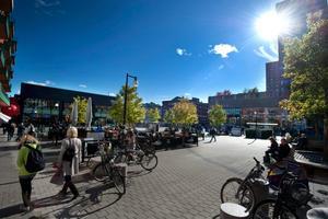 Här på Våghustorget kastade en man omkring cyklar på måndagseftermiddagen. En 29-årig man är nu gripen, misstänkt för flera brott. (Bilden är tagen vid ett tidigare tillfälle.)