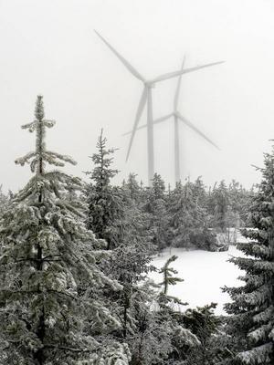 Tre vindkraftverk liknande dessa, fast något högre, planeras i Gisselås elva kilometer norr om Hammerdal. (Bilden tagen i Havsnäs där navhöjden på verken är 95 meter)