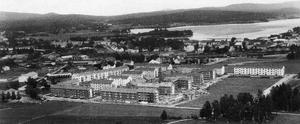 Gamla bilden: Så här såg det ut på Gärdet 1953. Hyreshusområdet står på åkermark från Hedens och Hamre byar. Foto: Henrik Nordkvist