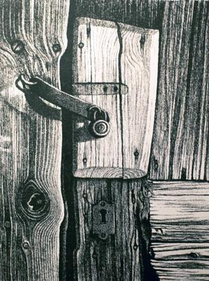 Karl-Otto Myrstads lås på en trädörr är utsökt.