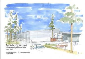 Så här ska den nya sporthallen vid Testebovallen se ut från parkeringen. Bygget startar i september. Illustration: Arkitektgruppen i Gävle