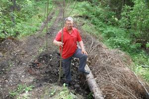 Jan Lööke visar hur ett stort stycke från en vandringsled har rasat efter ett skogsarbete i Jädraås.